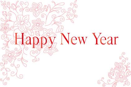 シンプル年賀状 白地にお花|HAPPY NEW YEAR